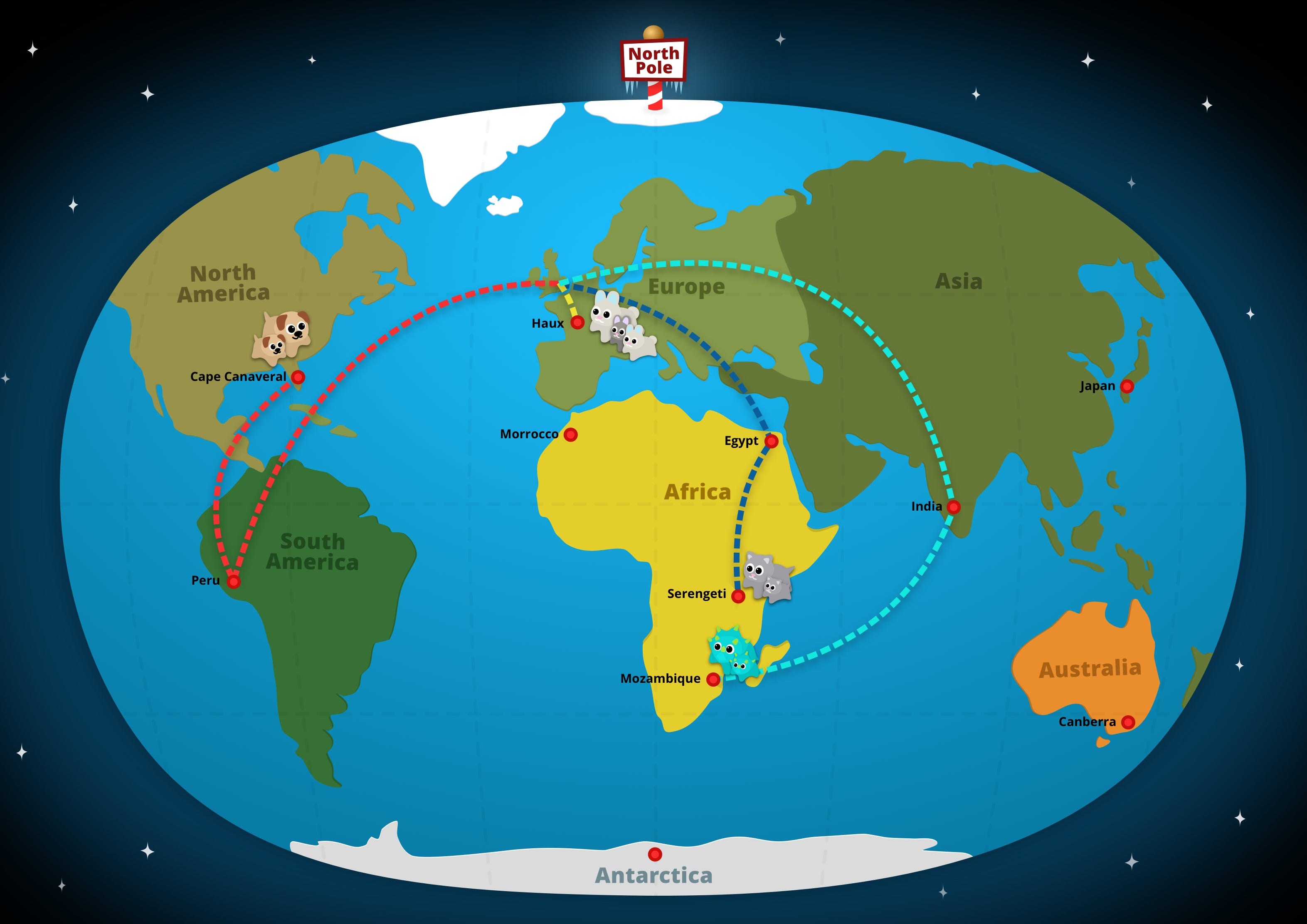 Coding Critters World Adventure - Global travel routes